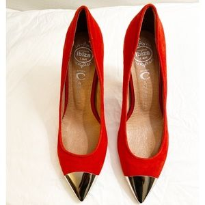 Jeffrey Campbell Ibiza Red Silver Pointed Toe Heels